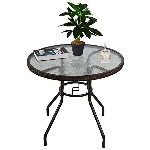 Outsunny Rattan Gartentisch runder Esstisch Glastisch Gartenmöbel Tisch Polyrattan+gehärtetes Glas Braun Ø80 x 71H cm