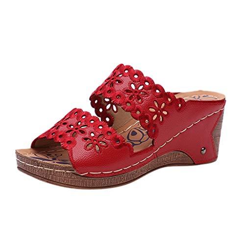 LSCOFFEE - Sandali Casual da Donna con Tacco Alto e Plateau, Stile Bohémien, con Cinturino in Tinta Unita, Stile Casual, PU, Red, 38