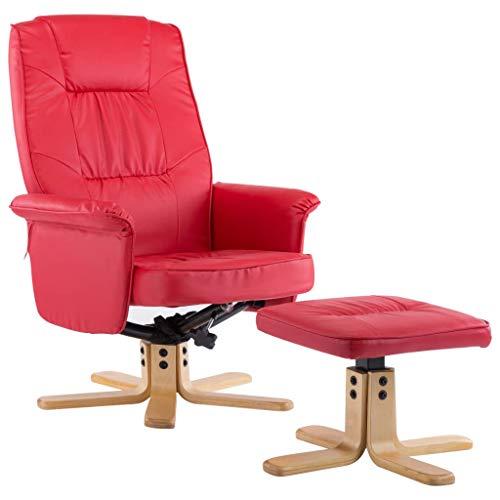 vidaXL Relaxsessel mit Fußhocker Hocker TV Sessel Fernsehsessel Ledersessel Ruhesessel Polstersessel Liegesessel Liegestuhl Rot Kunstleder