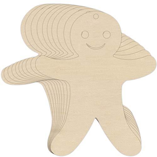 Creative Deco 10 x Lebkuchenmann-Anhängers aus Sperr-Holz 12 x 9,5 cm | Unlackierten Form-Scheiben | Perfekte Ausschnite für Bemalen, Dekorieren, Geschenk & Decoupage