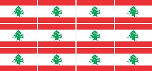 Mini Aufkleber Set - Pack glatt - 50x31mm - Sticker - Libanon - Flagge - Banner - Standarte fürs Auto, Büro, zu Hause & die Schule - 12 Stück