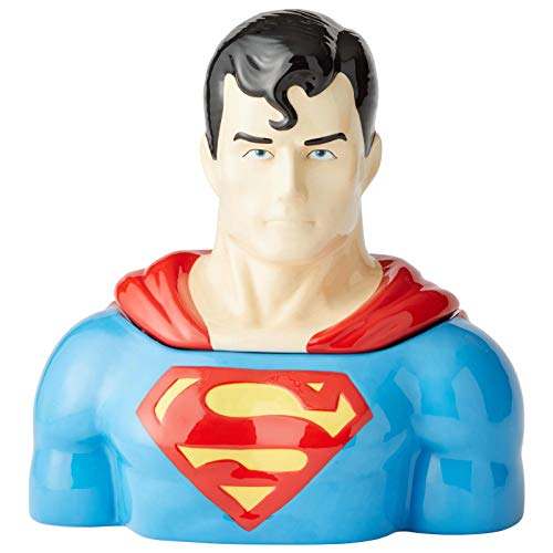 Enesco DC Comics Ceramics Superman Cookie Jar Canister, 10.5 Inch, Multicolor