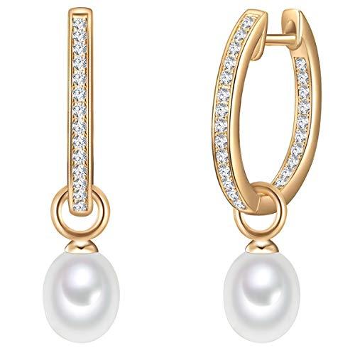 Valero Pearls Damen-Creolen Sterling Silber 925 gelbvergoldet Süßwasser-Zuchtperlen weiß - Ohrhänger für Frauen in Gelbgold-Farben mit Süßwasser-perle