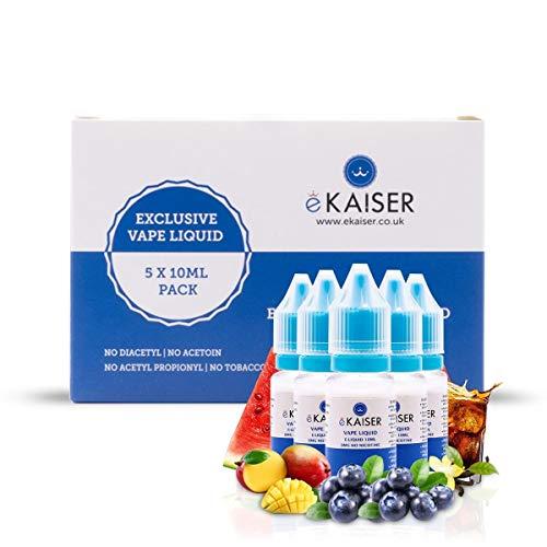 eKaiser 5 Pack E Liquid, Lieblingsgeschmack, 5 x 10 ml Flaschen mit 0 mg E-Liquid, Hohe Qualität, Nikotinfreier Saft für E-Zigaretten und Eshisa - Blaubeere, Wassermelone, Vanille, Cola und Mango.