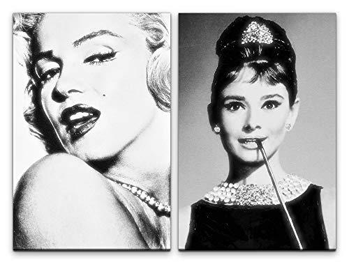 Paul Sinus Art Wandbild 2 teilig je 60x90cm Marilyn Monroe Audrey Hepburn Stars Hollywood Schwarz Weiß Legenden Feminin