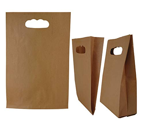 50stk Papiertüten Braun – 15 x 27 x 6,5 cm Papiertragetasche mit Griffloch, Papiertüten klein, Gestanzte Papiertüte, DIY Adventskalender, Geschenkverpackung klein (Braun, 15x27x6,5 50g/m2)