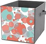 Caja de almacenamiento plegable cuadrada para camping, cesta organizadora duradera, color azul melocotón y gris burbujas blancas