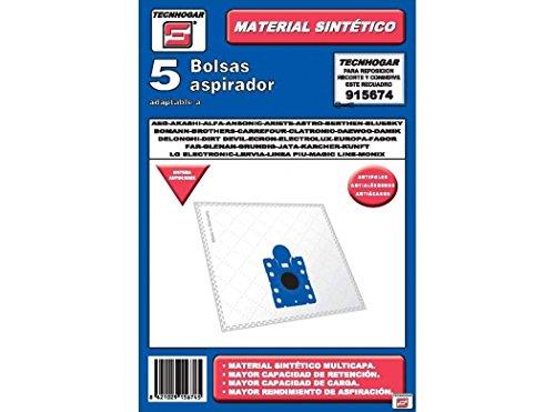Tecnhogar 915674 Bolsa aspirador, Fibras sintéticas, Blanco