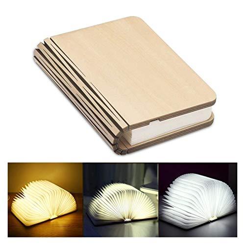VGY Portátil 3 Colores 3D Creativo led Libro luz luz de Madera 5v USB Recargable magnético Escritorio Plegable Mesa lámpara decoración del hogar