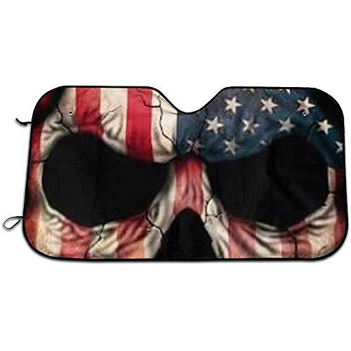 GWrix Autovoorruit, zonwering, zonneklep, voorruit, schaduwmaker, patriotische schedel houdt voertuig koel, universele zonnescherm S(130X70CM) 746