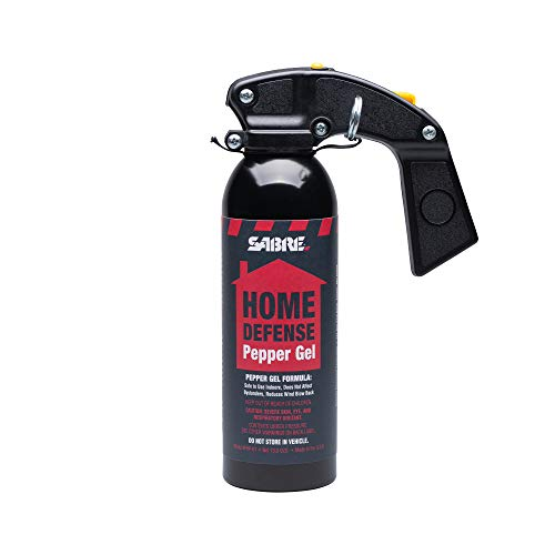 SABRE Red Home Defense Pepper Gel With Wall Mount, 32 Bursts, 25 Foot (7.6 Meter) Range, UV Marking Dye Helps Identify Suspects, Full Hand Grip, Pin Safety, Gel Is Safer