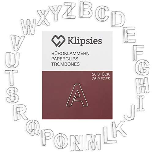 KLIPSIES Buchstaben Mix A-Z (Buchstabe wählbar) 26 Deko Büroklammern Motiv Heftklammern 1x26 Stück Silber