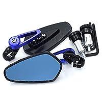 オートバイの鏡 オートバイのバックミラーロッドエンドハンドルバックミラーアクセサリーはスズキGSR600BANDIT 400 K6 C50 BOULEVARD DR 350HAYABUSAに非常に適しています (色 : 青)