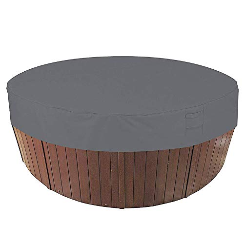 HEWYHAT Runde Whirlpoolabdeckung, wasserdichte, 100% UV- und wetterbeständige runde Spa-Abdeckung mit elastischen und Lufttaschen für eine angenehme Atmosphäre,Grau,200×30cm