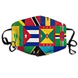 Männer Frauen Mode Unisex Mundmaske Karibik und Westindien Nationalflagge Staubmasken Half Face Earloop für Outdoor-Radfahren mit verstellbaren Ohrschlaufen