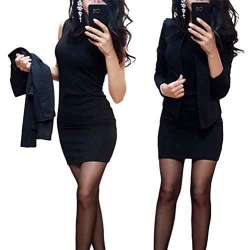 Minetom Damen Langarm Bodycon Mini Kleid und Jacke 2 Stücke Herbst Winter Cardigan Elegant Sexy Büro Party Cocktail Business Abendkleid Bleistftkleid A Schwarz 34