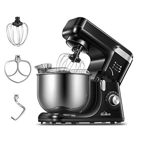 Kealive Küchenmaschine, 5.5L Edelstahlschüssel& 8 Geschwindigkeiten Knetmaschine mit Stabilität wegen 5 Saugnäpfe, Aktualisiertem Spritzschutz, 1200W, Rührbesen, Knethaken, Schlagbesen