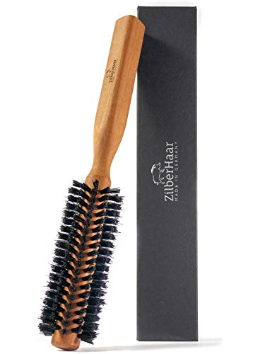 ZilberHaar – Styler – Cepillo redondo para barba y pelo – 1,3 pulgadas – Cerdas de jabalí y madera – Cepillo redondo – Cepillo de secado de barba – Cepillo para hombre