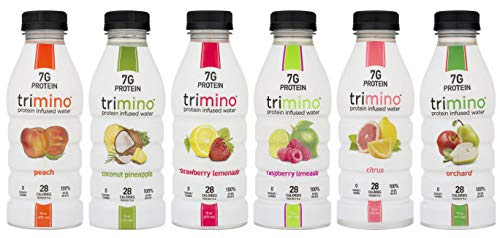 Trimino Protein Infused Water, 6-Flavor Variety Pack, 16 Ounce (Pack of 24)