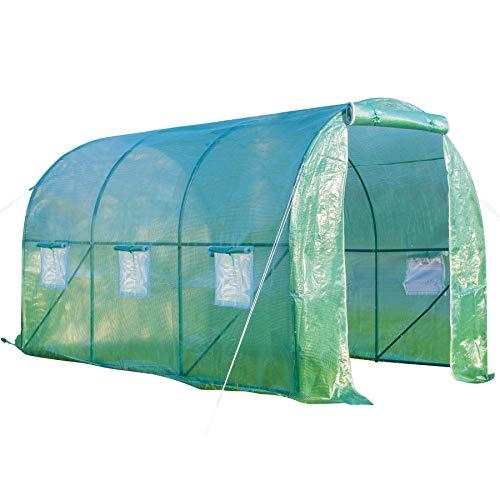 GOJOOASIS Foliengewächshaus 3x2m 6m² Gewächshaus 6 Fenster Reißverschluss Insektenschutz 140g/m² Folie