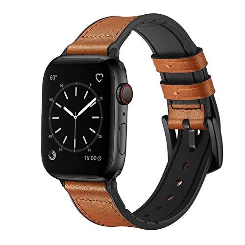 TIANQ - Correa de silicona y cuero para Apple Watch Band 44 mm, 40 mm, 42 mm, 38 mm, correa para reloj Iwatch Series 5, 4, 3, 40, 44 mm, China, marrón