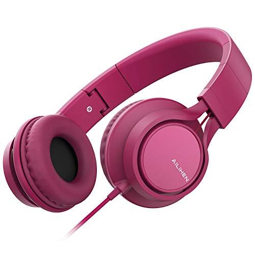 AILIHEN MS300 Kabelgebundene Kopfhörer mit Mikrofon, zusammenklappbar, leicht, Headset für Handys, Tablets, Smartphones, Chromebook, Laptop, Computer, Zoom, Skype, MP3/4 (Rosa)
