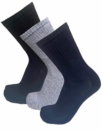 Calcetines de tenis de algodón para hombre y mujer, transpirables, blancos, negros, acolchados en el arco plantar, antiampollas, hilos excelente calidad (42-46, 3 pares MIX.B (BLACK+BLUE+GREY))