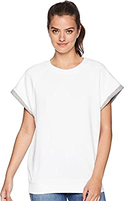 7 For All Mankind Two-Tone Muscle Sweatshirt Optic White/Heather Grey Contrast LG (US 12) by 7 For All Mankind
