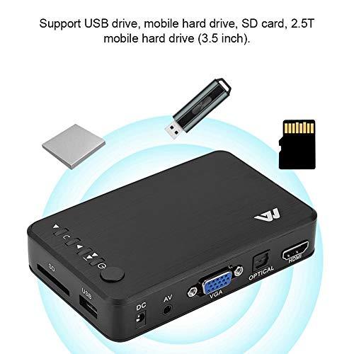 Eboxer HDMI 1080P HD Audio und Video Player HD-Video-Player Multimedia Player mit IR Fernbedienug unterstützt USB-Laufwerk, Mobile Festplatte, SD-Karte,2.5/3.5zoll-Mobile-Festplatte (Schwarz)