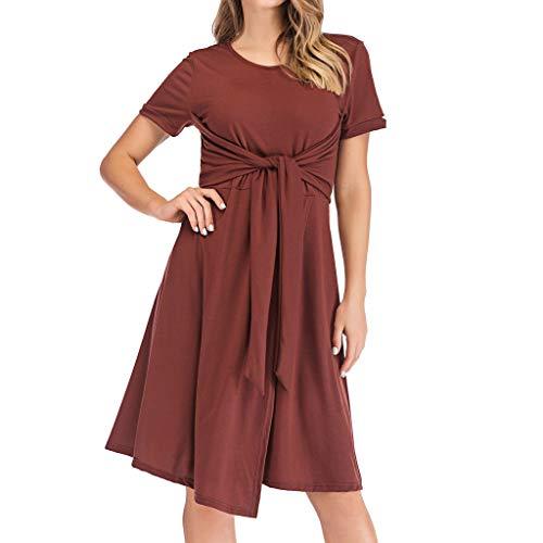 Yanhoo-Dress Damen Strickleid Pullover Lang Sweater Warm Elegant Langarm Strickpullover Winter Kleid