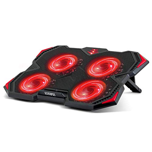 EMPIRE GAMING Storm Cooler – Gamer PC Kühler Laptop 12 bis 17''- Kühlung Pad 4 geräuscharme Ventilatoren – Cooling Notebook 3 einstellbare Positionen – 2 USB-Ports – Rote LED
