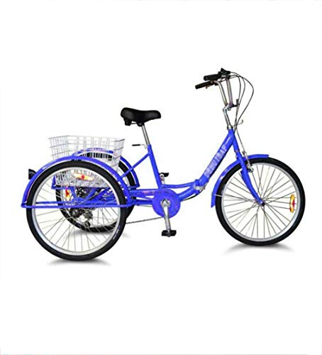 Dongshan 24 inch Tricycle Adult 3-Wheel Folding Comfortable Bicycle with Enlarged Rear Basket, 7-Speed Labor-Saving, Suitable for The Elderly to give Parents The Best Gift Weight 150kg Blue