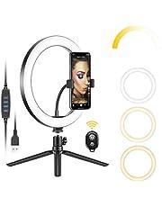 Neewer 10 inch USB LED Ring Licht met Statief Stand, 3 Lichtmodi/10 Helderheid Niveau voor YouTube Tiktok Video Make-up Selfie Live Streaming Fotografie, Flexibele Telefoonhouder en Afstandsbediening Inbegrepen