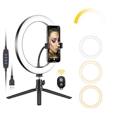"Neewer Anillo Luz LED USB 10"" con Soporte para Trípode 3 Modos Luz 10 Niveles Brillo para Youtube Tiktok Video Makeup Selfie Foto Transmisión en Vivo con Soporte Flexible de Teléfono y Control Remo"