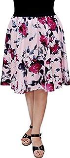 Grace Diva Digital Rose Print Women Knee Length Polyester Skirt