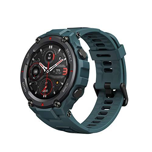 Amazfit T-Rex Pro Smartwatch Fitness Monitor de Sueño y Ritmo cardiaco 10 ATM GPS Reloj Inteligente Deportativo con más de 100 Modes Deportes Duración de batería 18 días Resitente Diseño-Azul