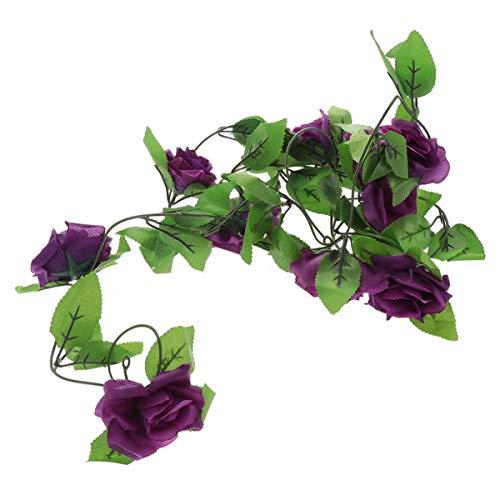 Imikeya - Guirnalda de rosas artificiales falsas flores colgantes, guirnalda de flores rosas para plantas de boda colgantes guirnalda de plantas para jardín, decoración de fiesta de boda 2 4 metros