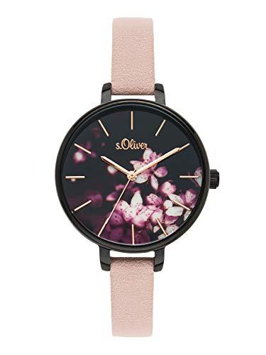 s.Oliver Time Damen Analog Quarz Uhr mit PU Armband SO-3589-LQ