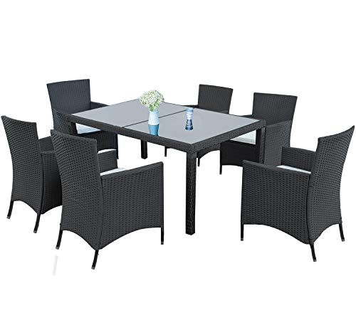 LZ LEISURE ZONE 7-Piece Outdoor Wicker Dining Set - Dining Table Set for 6 - Patio Rattan Furniture Set with Beige Cushion (Black)