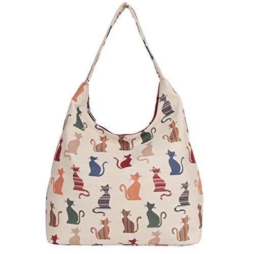 Signare Tapestry Arazzo Arazzo Borsa a Tracolla Donna, Borse Tote per Donne, Hobo bags con Disegni di Animali (Gatto sfacciato)