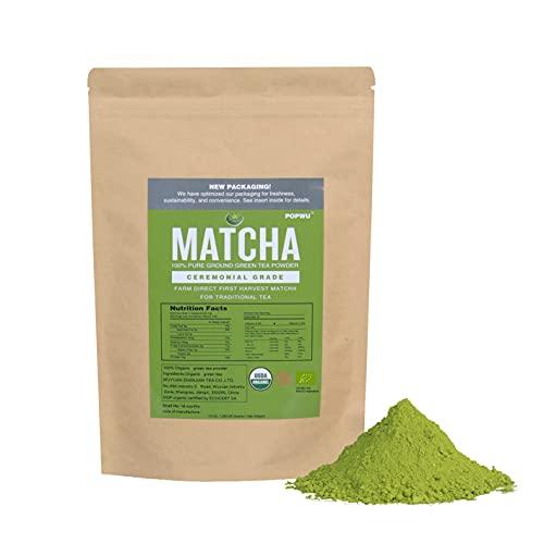 POPWU Organic Matcha Green Tea Powder 10 Ounce(283g) Ceremonial Grade First Harvest Matcha Original Flavor Perfect For Latte , Baking , Smoothies , Iced tea