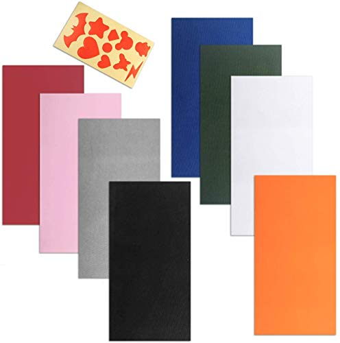 CKANDAY 8 piezas parches de reparación autoadhesivos con guía de modelo de papel,resistente al agua,ligero poliéster pegatinas de reparación para agujeros de ropa impermeable mochilas tienda campaña