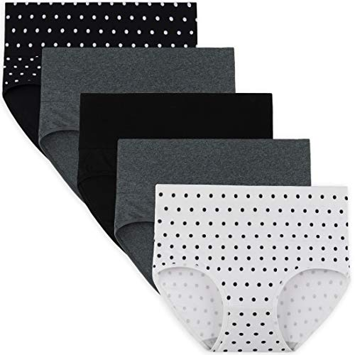 INNERSY Womens High Waisted Underwear Cotton Panties Regular & Plus Size 5-Pack(M,Solid Colors and Polka Dot)