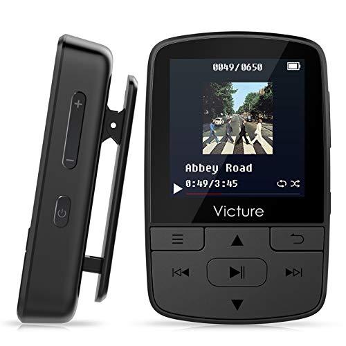 Victure Bluetooth MP3 Player 16GB Clip Mini Sport Tragbar Musik Player mit HiFi Verlustfreier, Sprachaufzeichnung, FM Radio, Unterstützt bis 128GB Micro sd Karte, Kopfhörer