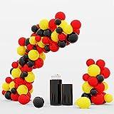 Ikulurit - Guirnalda de globos (100 unidades, 25,4 cm, decoración de Alemania, Bélgica, color rojo y amarillo, negro, para bodas, niños, niñas, baby shower, alemán, belga, 100 unidades)