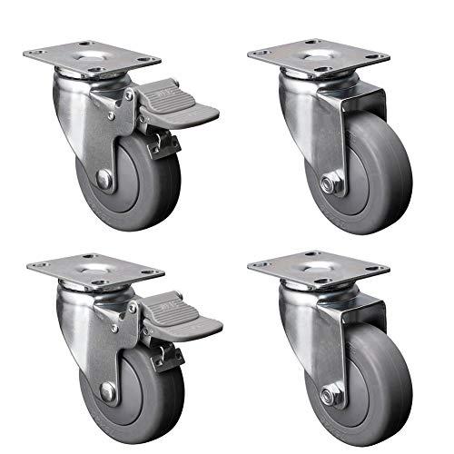 CASTOR 2.5'' / 3 inches /100mm meubel zwenkwielen met rem stille TPE wielen Heavy duty 300kg plaat draaibaar voor industriële transport trolley tafel 4 PCS