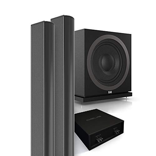 QEUS APS10021 2.1 Lautsprecher Komplettsystem Black, Raumbeschallung, Stereo, Heimkino, Set mit 2 extrem kompakten Lautsprechern à 100 cm, 400 Watt Aktiv Subwoofer und Frequenzweiche