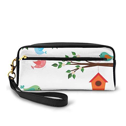 Kleine Make-up-Tasche, pastellfarbene Vögel im Hof mit Vogelhäusern, Bäumen und Zaun, buntes Cartoon, PU-Leder, Reißverschluss, Kosmetiktasche und Stifteorganizer