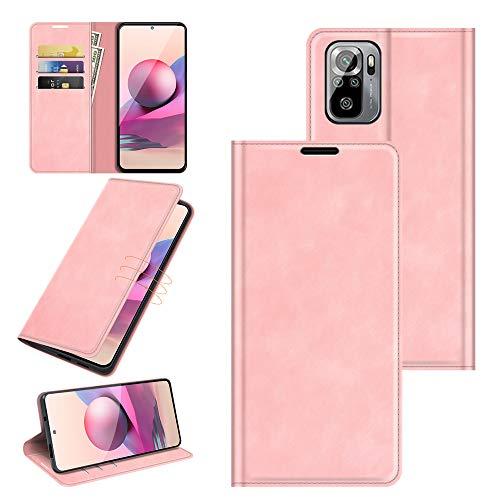 Fertuo Hülle für Xiaomi Redmi Note 10 4G, Handyhülle Leder Flip Hülle Tasche mit Kartenfach, Magnetverschluss, Silikon Innenschale Schutzhülle Cover Lederhülle für Redmi Note 10 / Note 10S, Rosa