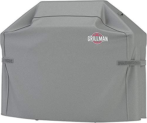 Grillman Premium BBQ Grillabdeckung Heavy Duty Gasgrill Abdeckung für Weber, Brinkmann, Char Broil etc. Reißfest, UV & Wasserfest (60 inch / 152 cm, Grau)